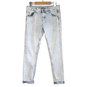 Zara Acid Wash Boyfriend Fit Mid Rise Denim Jeans
